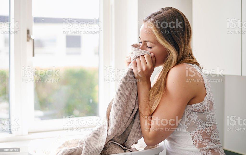 Freshly washed towels stock photo