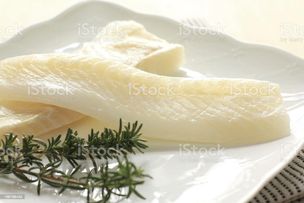 freshness flat fish on dish with rosemary royalty-free stock photo
