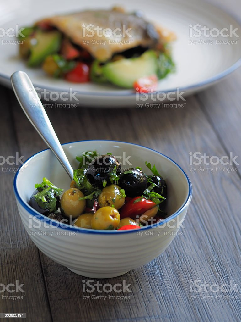 freshness olives salsa stock photo