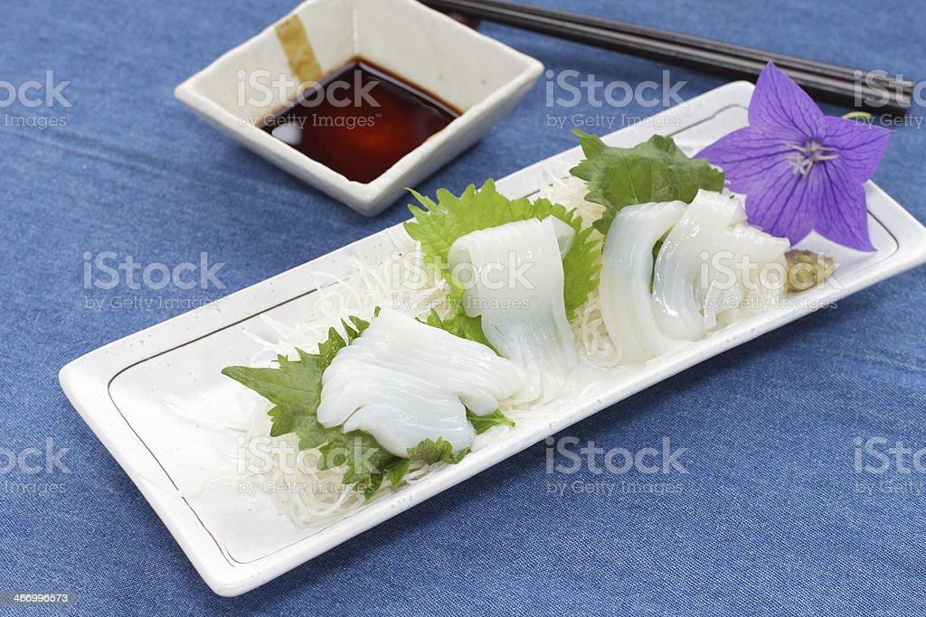 Freshness squid sashimi on plate stock photo