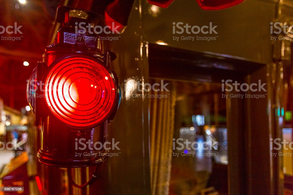 Fresnel train lantern light on wagon stock photo