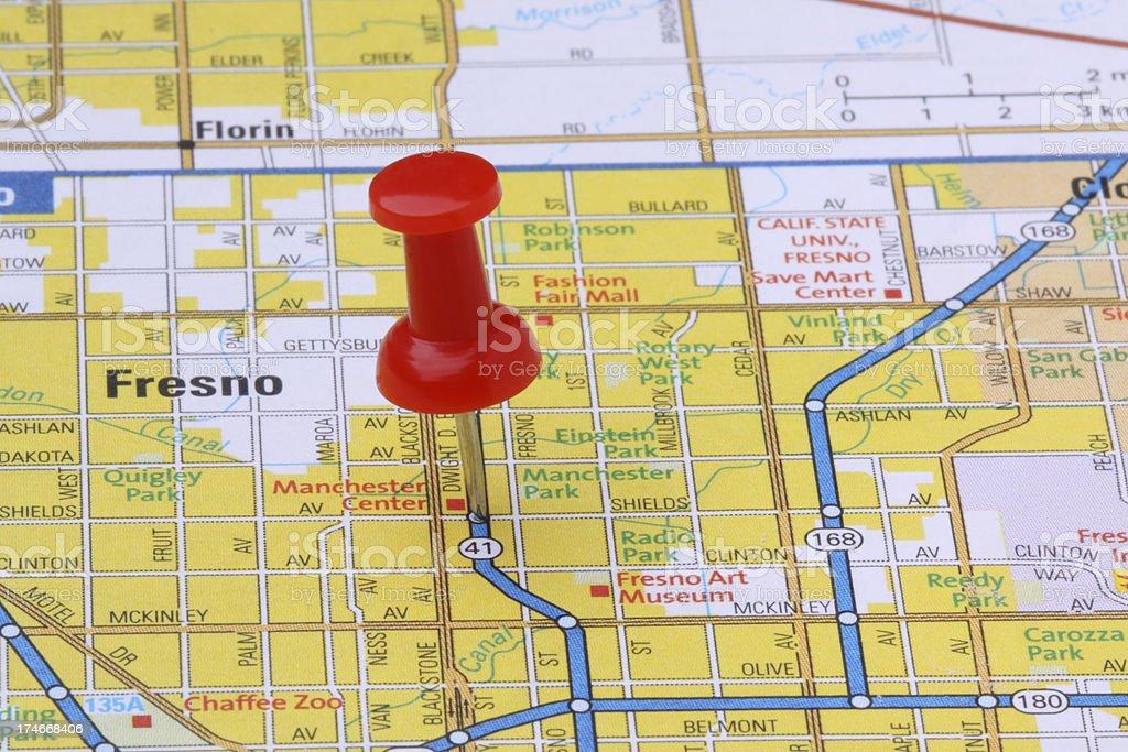 Fresno, California on a map. stock photo