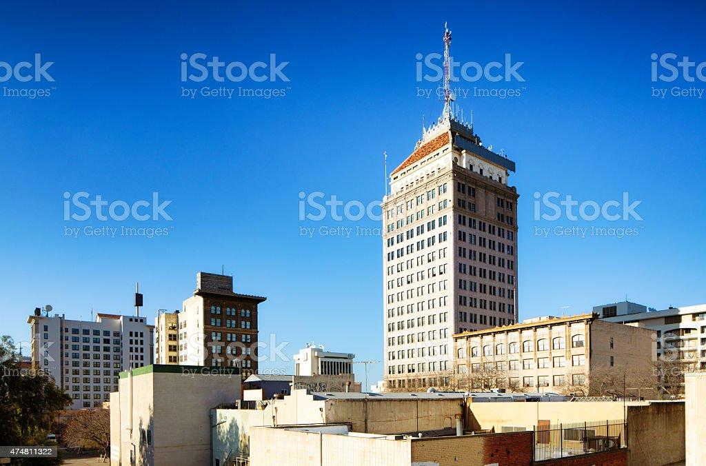 Fresno California skyline at sunset horizontal version stock photo