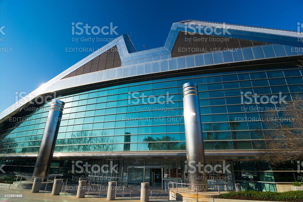 Fresno City Hall, dramatic wide angle shot stock photo
