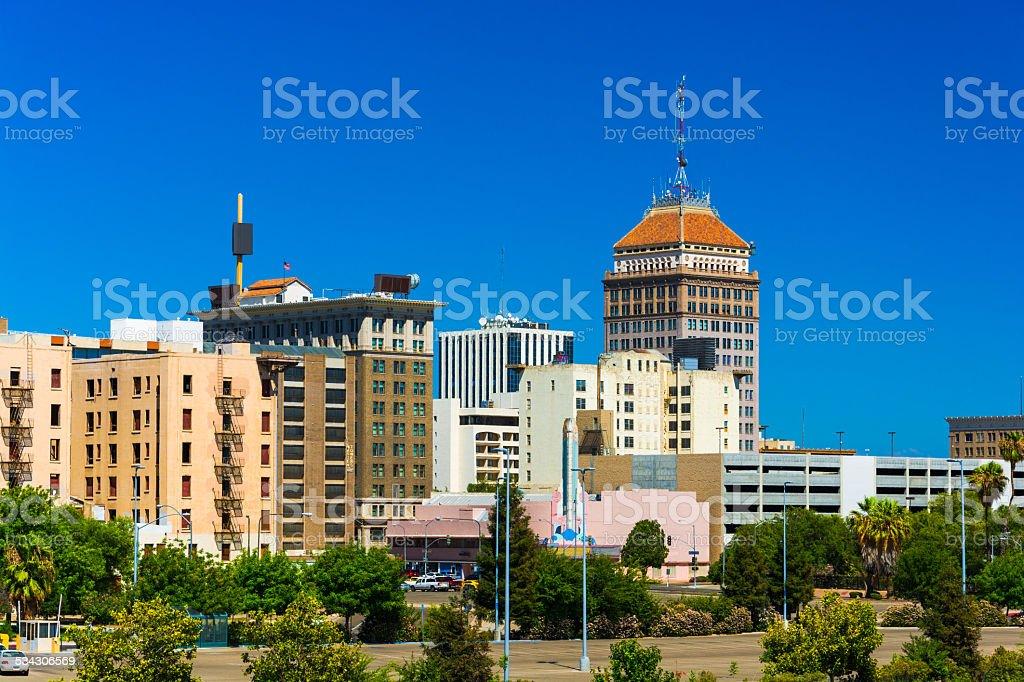 Fresno downtown skyline with a clear blue sky stock photo