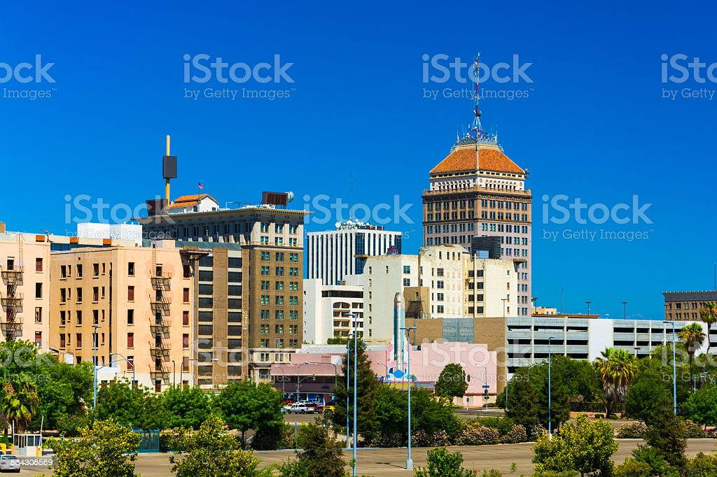 Fresno downtown skyline with a clear blue sky stock photo