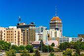 Fresno downtown skyline with a clear blue sky