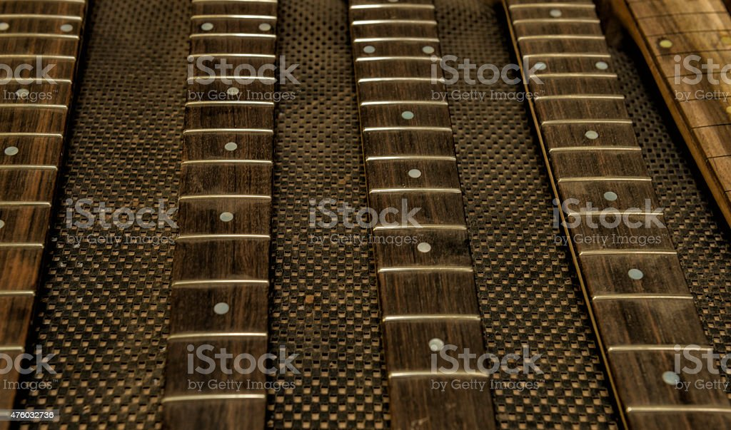 Fretboards for constructing guitars stock photo