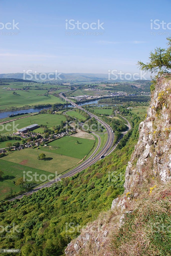 Friarton Bridge from Kinnoull Hill stock photo