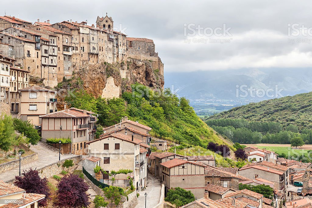 Frias - medieval town in province of Burgos stock photo