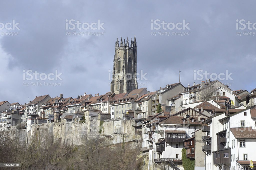Fribourg Cathedral, Switzerland stock photo