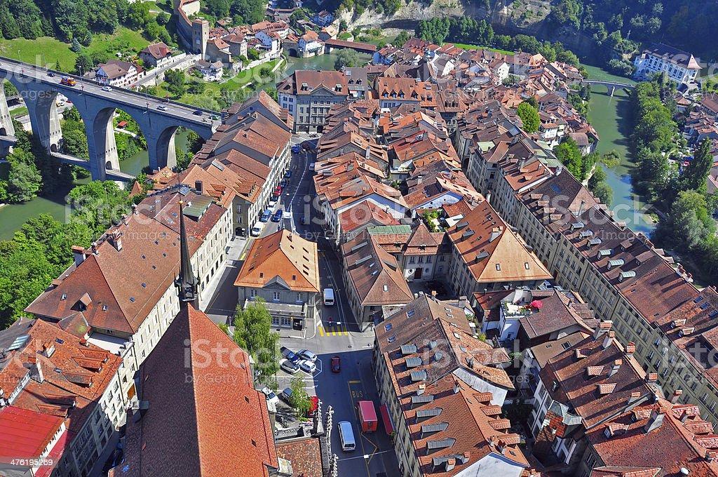 Fribourg cityscape stock photo