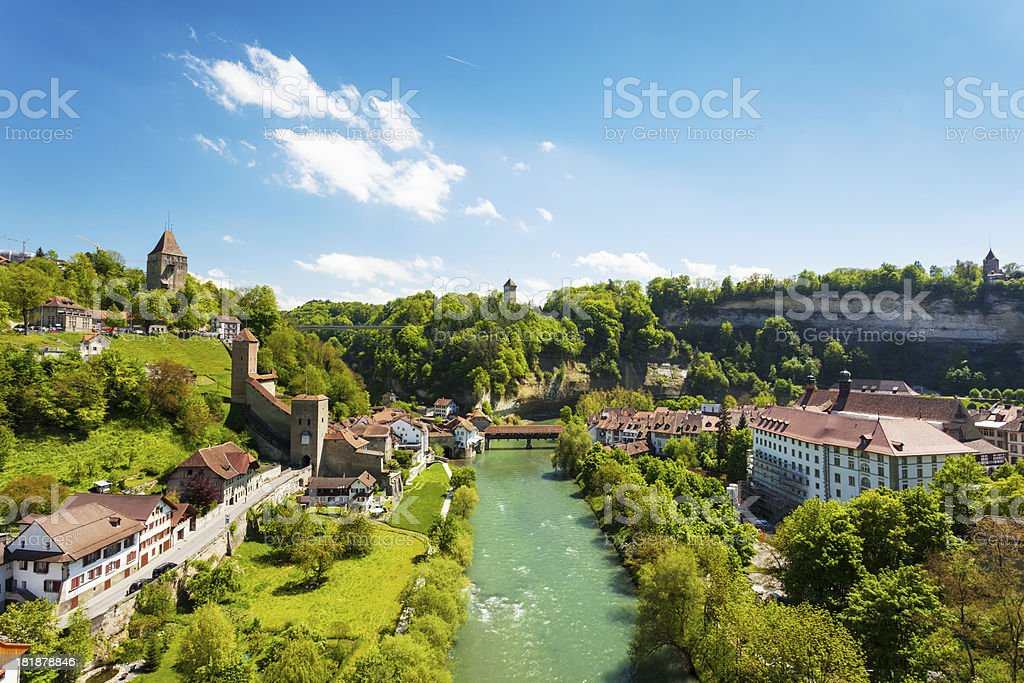 Fribourg famous city in central Switzerland stock photo