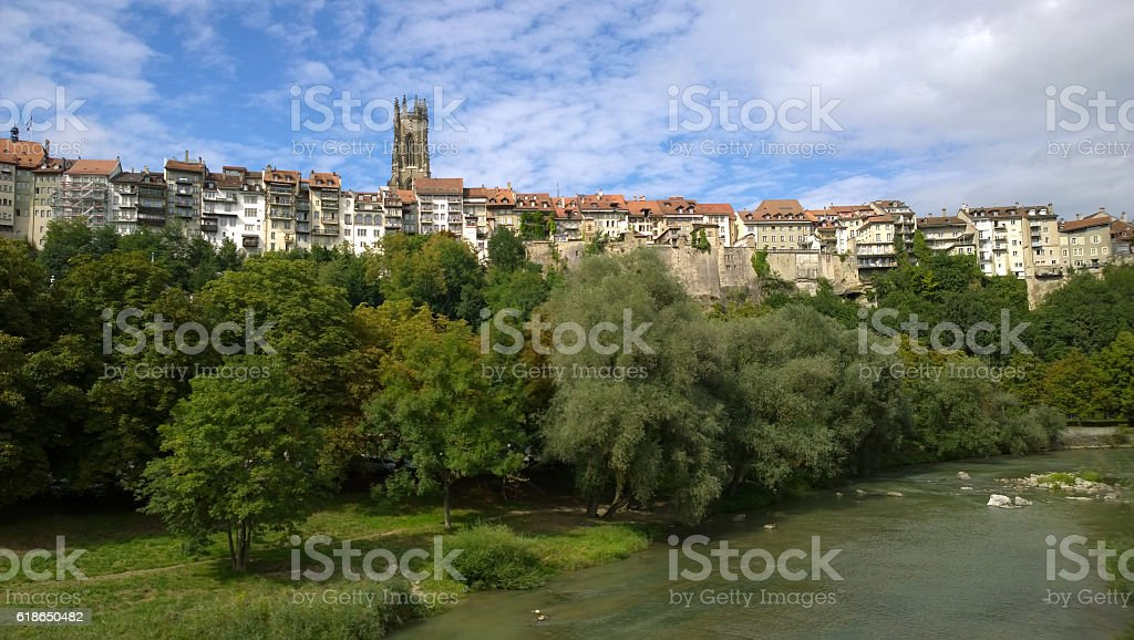 Fribourg old town and cathedral stock photo