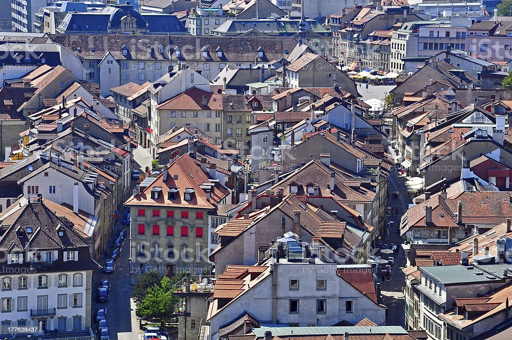Fribourg's roofs stock photo