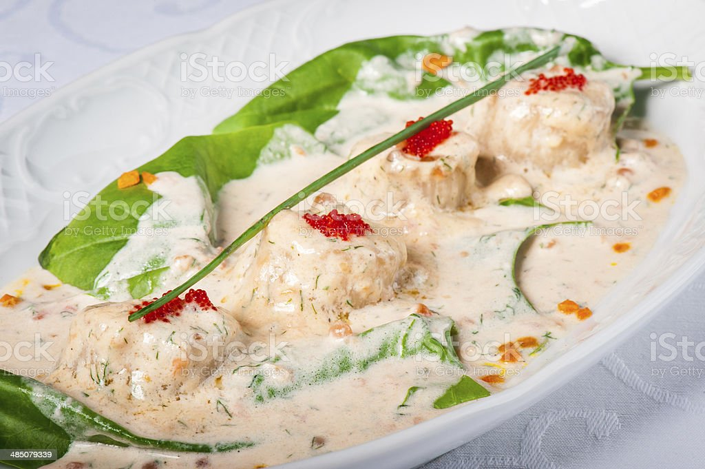Fricassee of sea scallop stock photo