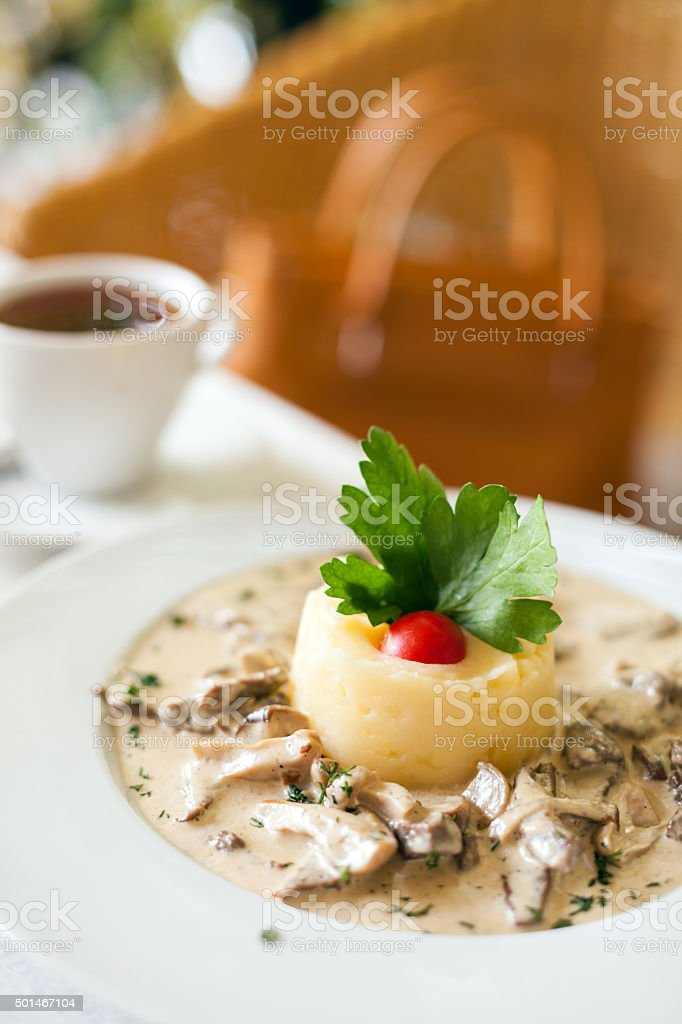 Fricassee of veal in a mild cream sauce stock photo