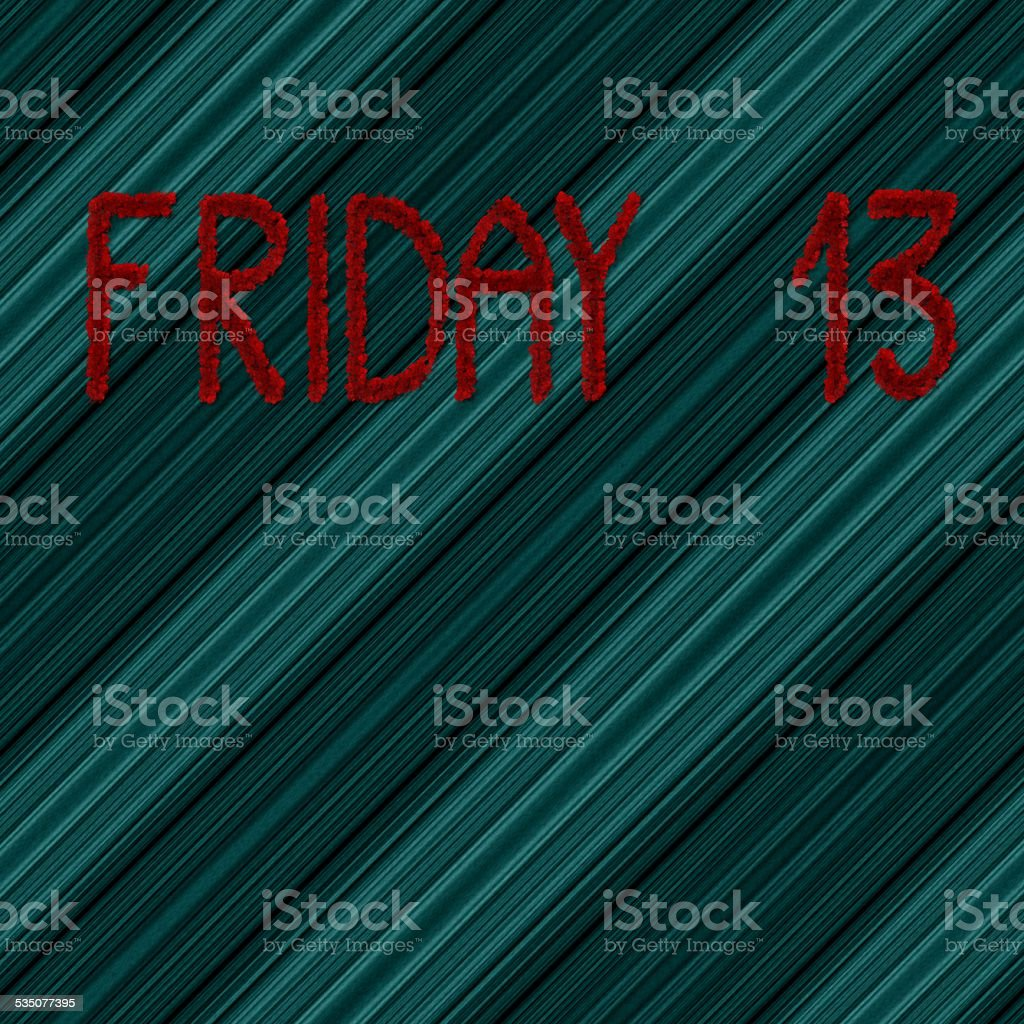 Friday 13 on diagonally background stock photo