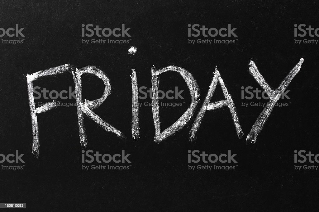 Friday Chalk Text on Blackboard royalty-free stock photo