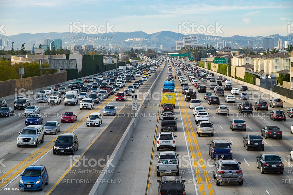 Friday Traffic on the 405 freeway North Los Angeles California stock photo
