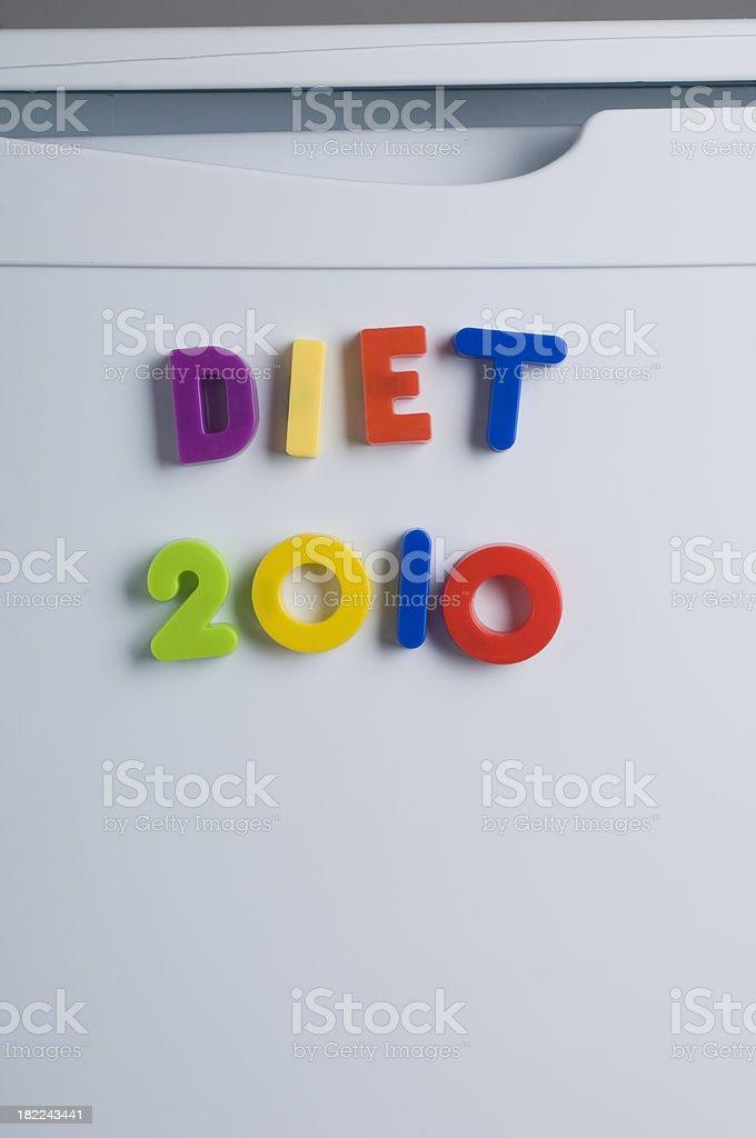 Fridge Magnet Letters Diet 2010 stock photo