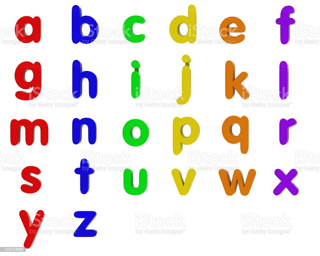 Fridge Magnet Lowercase Alphabet stock photo