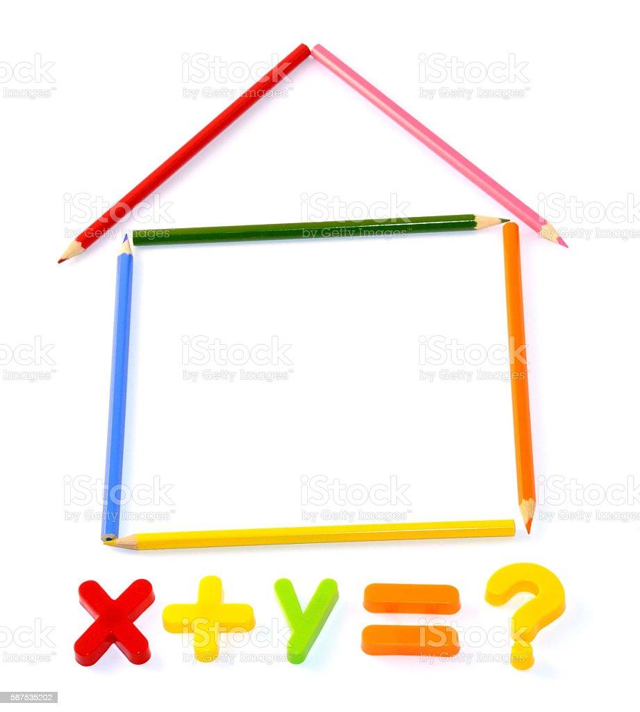 Fridge Magnet Maths Symbols and House Isolated on White Background stock photo