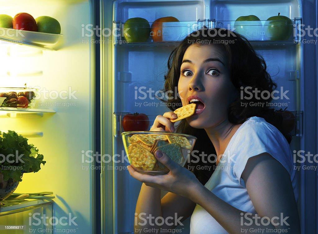 fridge with food stock photo
