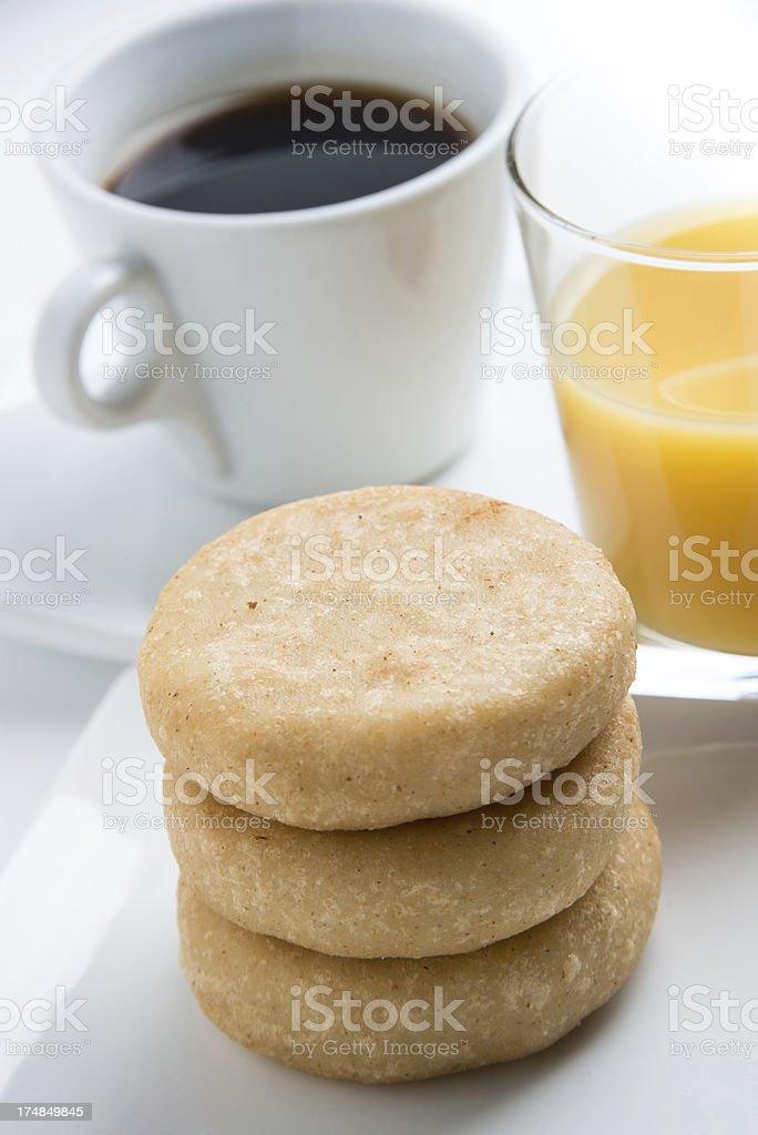 Fried Arepas Breakfast royalty-free stock photo