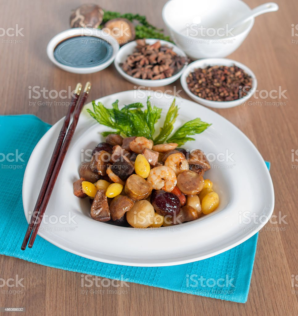 Fried assorted five kind of Chinese nuts stock photo