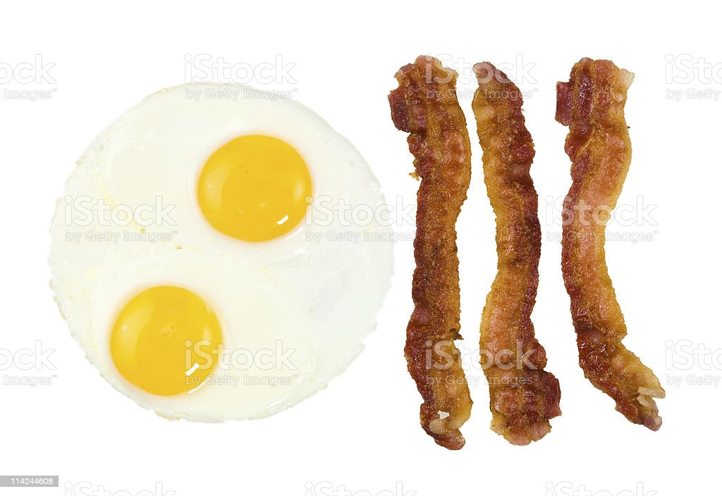 Fried Bacon strips and two eggs royalty-free stock photo