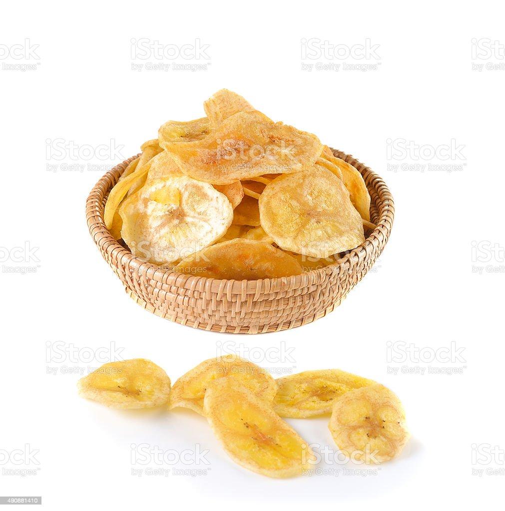 Fried banana slices isolated on white background stock photo
