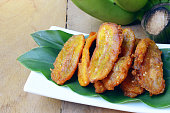 fried bananas fritter with sesame seed