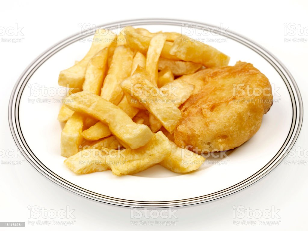 Fried Battered Fishcake and Chips stock photo