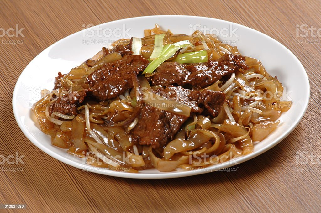 Fried beef flat rice noodle (干炒牛河) stock photo