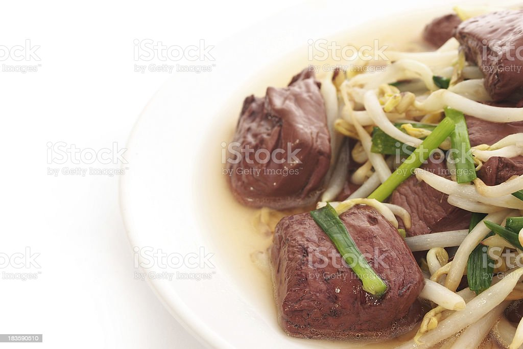 Fried blood jelly with bean sprouts royalty-free stock photo