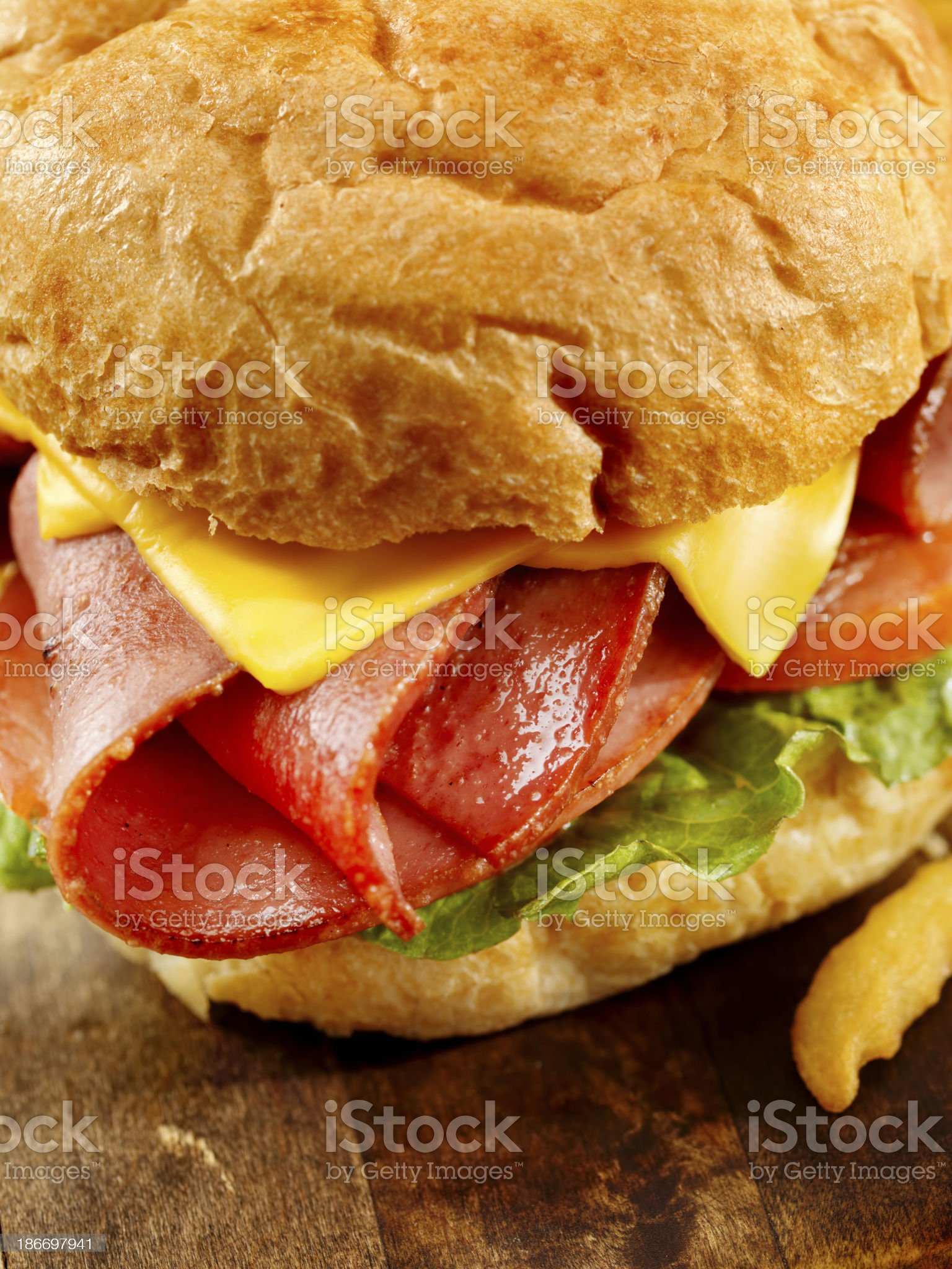Fried Bologna Sandwich with Fries royalty-free stock photo