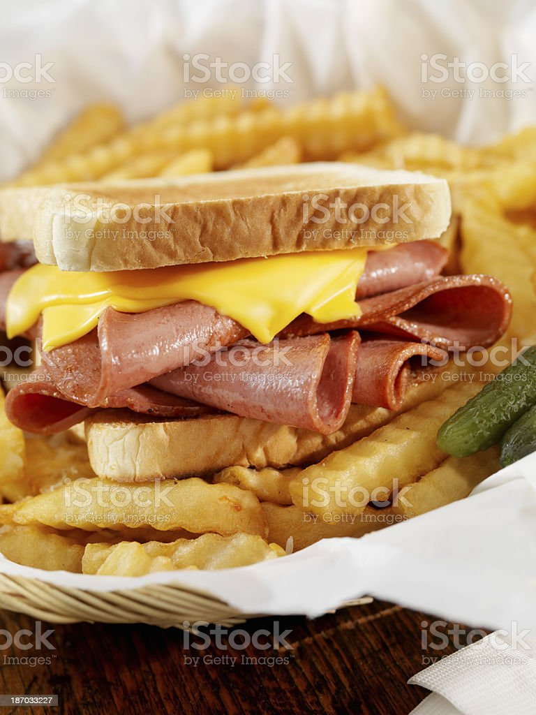 Fried Bologna Sandwich with Fries stock photo