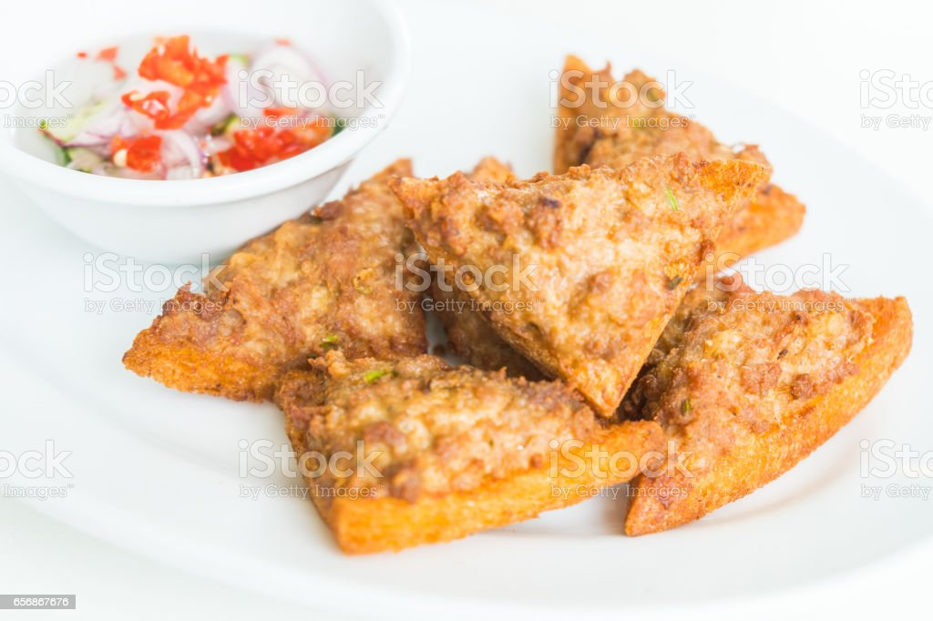 Fried bread with minced pork spread stock photo