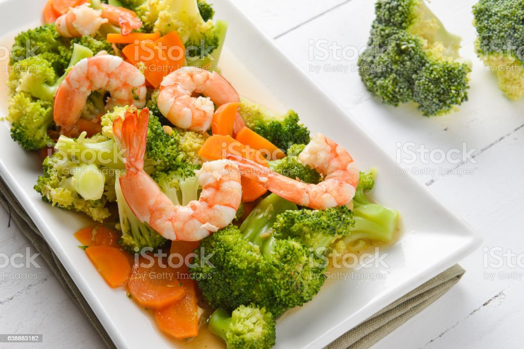 Fried broccoli with prawn stock photo