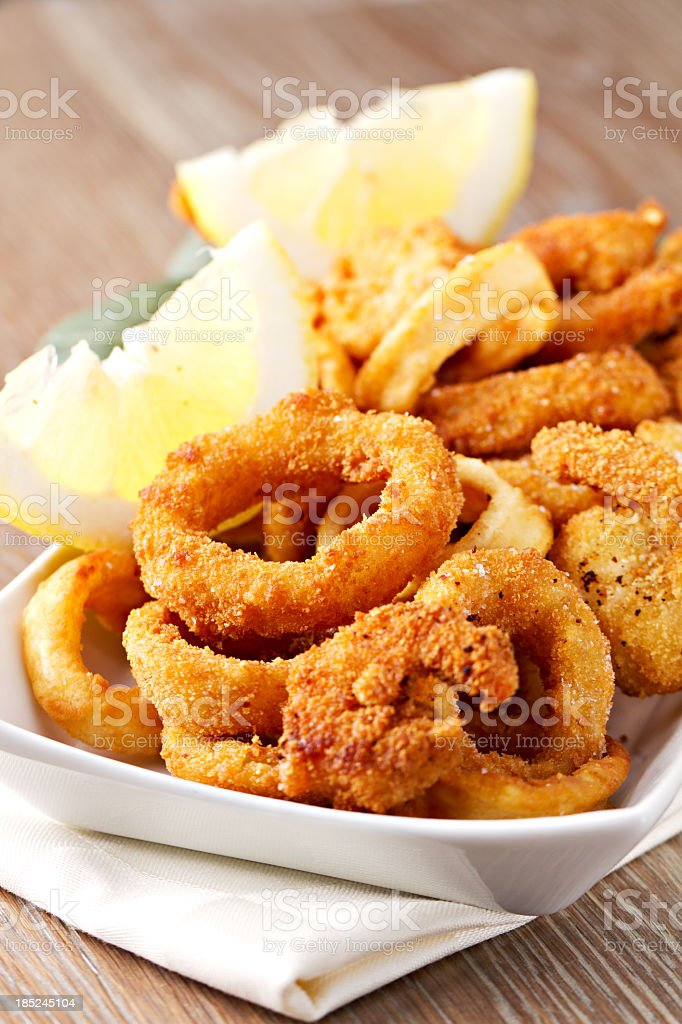 Fried calamari and shrimp stock photo