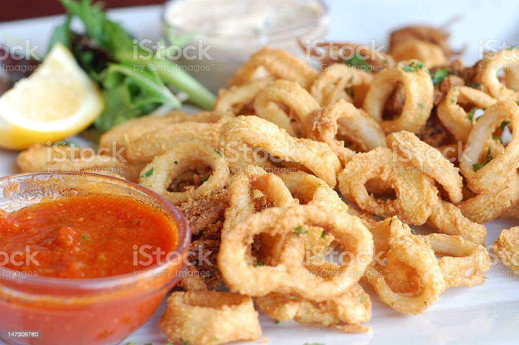 Fried Calamari Appetizer stock photo