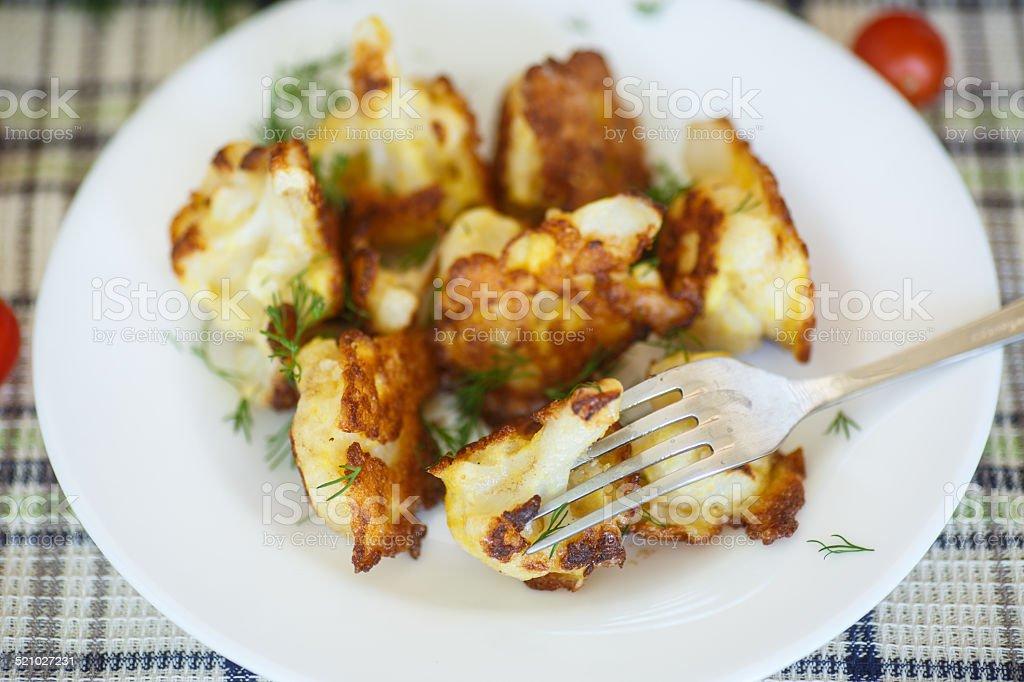 fried cauliflower stock photo