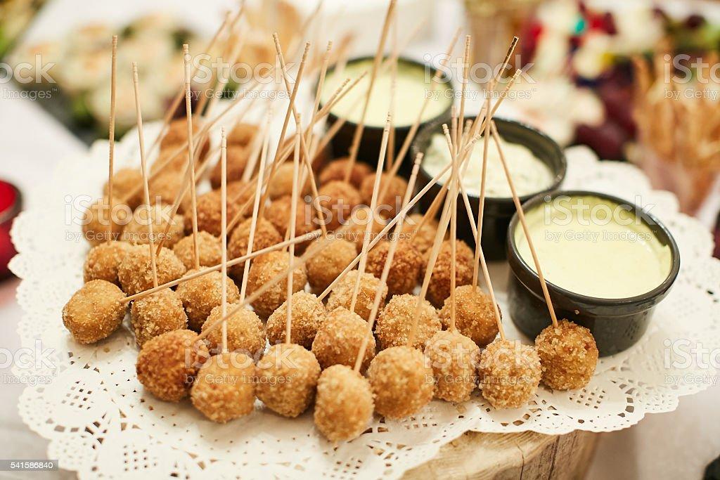 Fried cheese ball stock photo