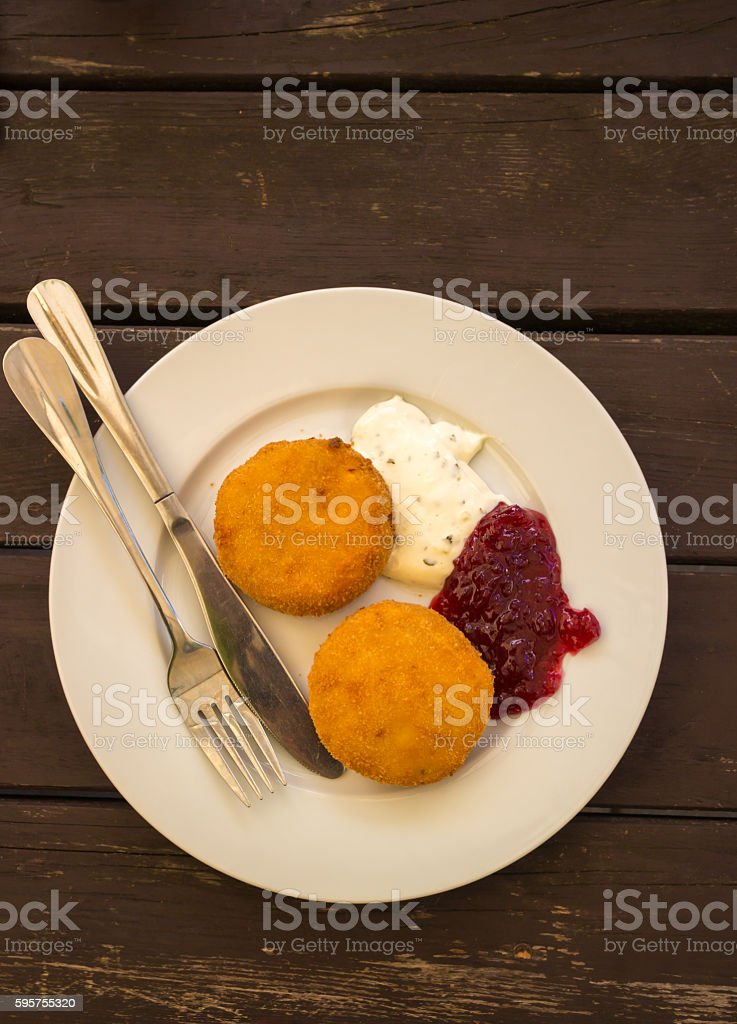fried cheese czech cuisine stock photo