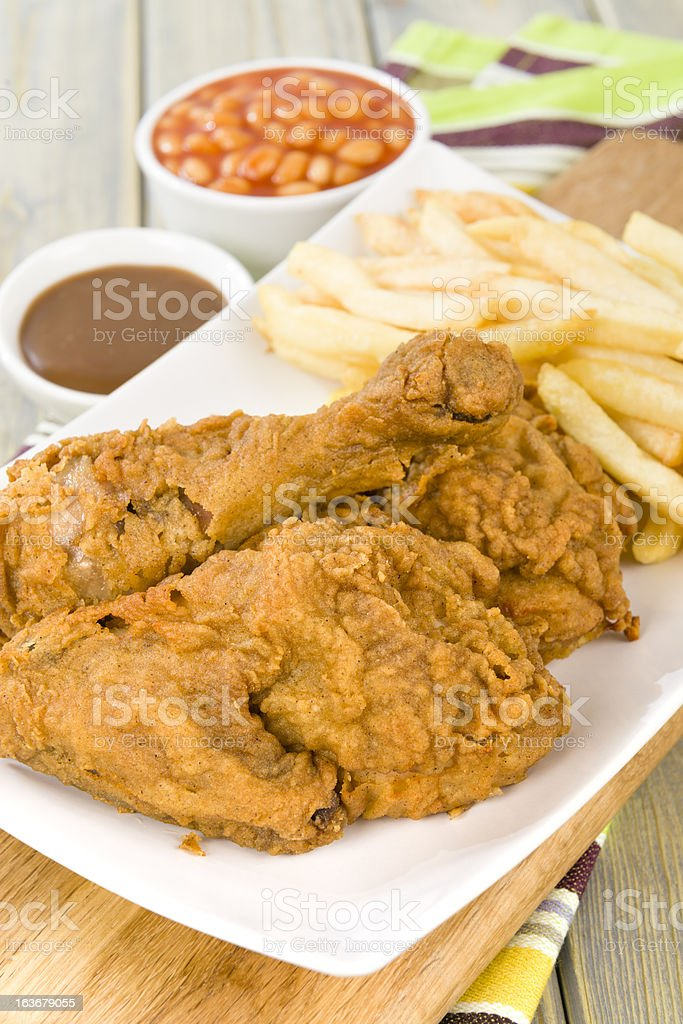 Fried Chicken & Chips royalty-free stock photo