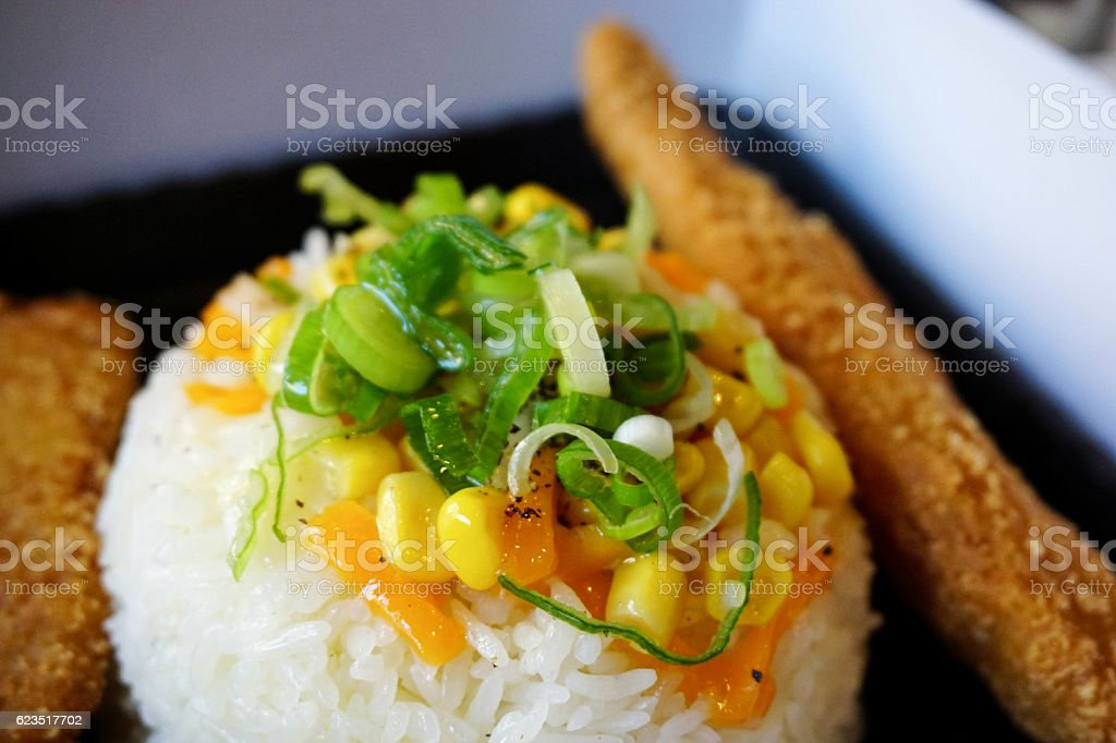 fried chicken and rice stock photo
