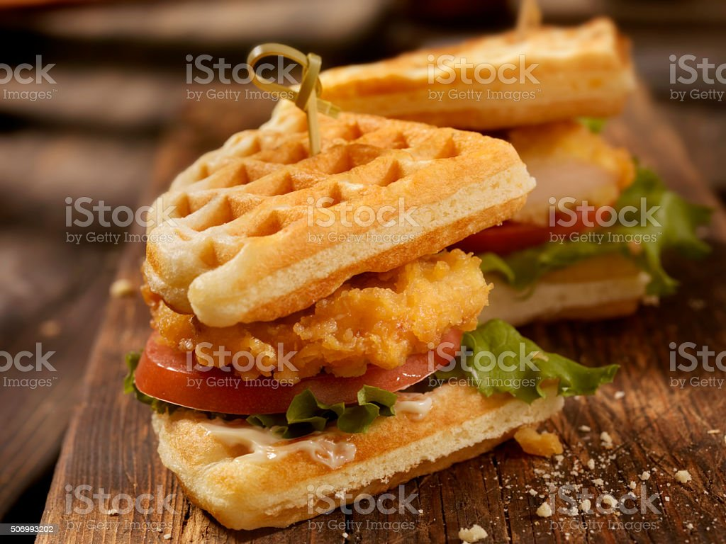 Fried Chicken and Waffle Sandwich stock photo