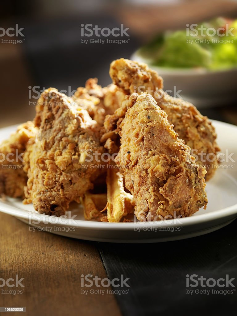 Fried Chicken and Waffles royalty-free stock photo