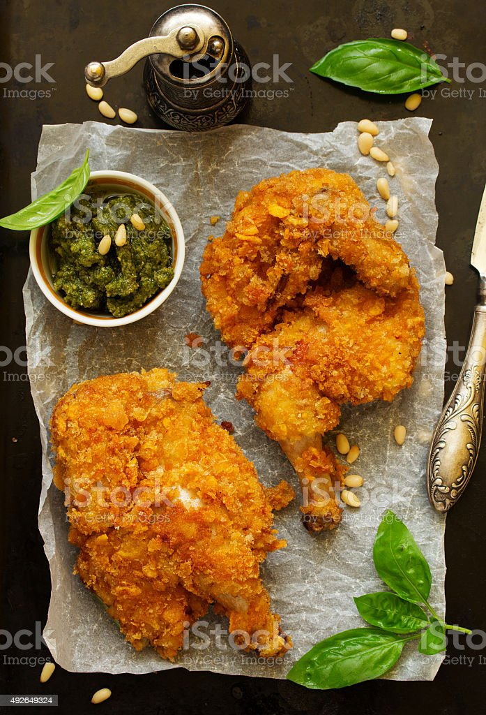 Fried chicken, breaded in corn flakes. stock photo